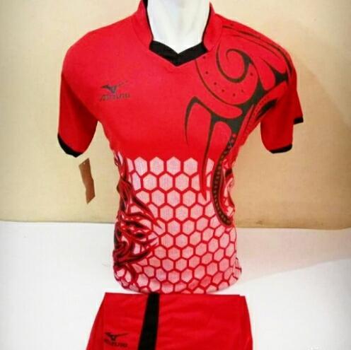 [TERLARIS MZ 03] Baju Futsal Jersey Olahraga Volly Kaos Bola Setelan Voli Mizuno Merah