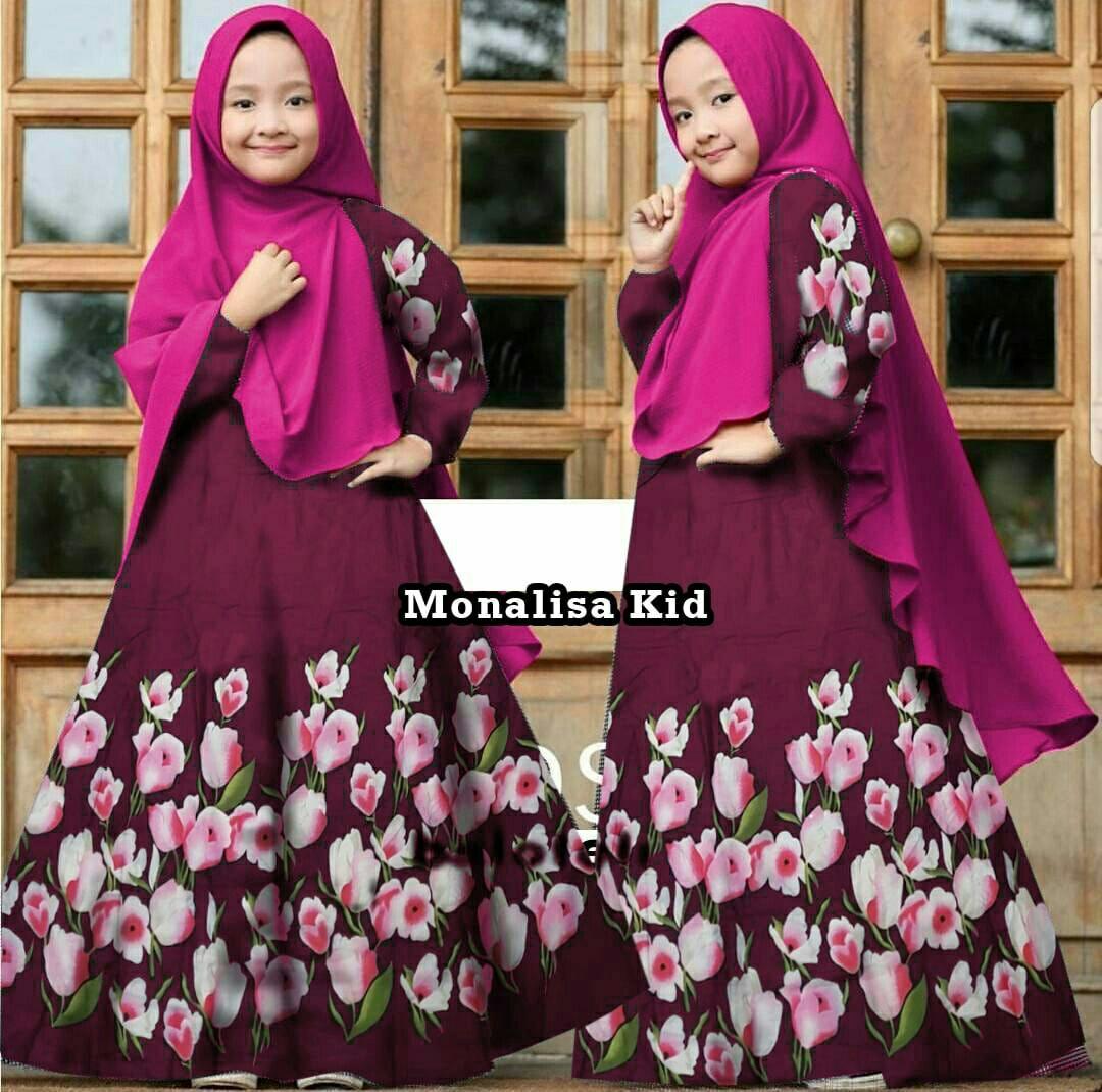 Honeyclothing Dress Muslim Anak Monala / Baju Muslim Anak Perempuan / Gamis Hijab Anak / Maxi Syari Anak