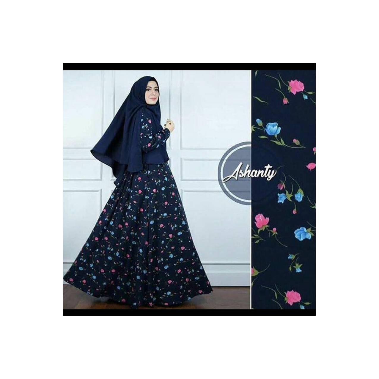 set gamis wolpich navy gamis motif bunga kecil dress muslim ori cant T