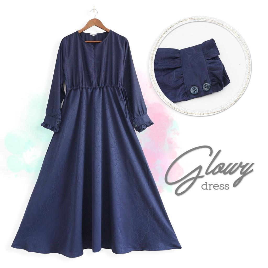 GLOWY DRESS - GAMIS MUSLIM JACQUARD SILK (White L)