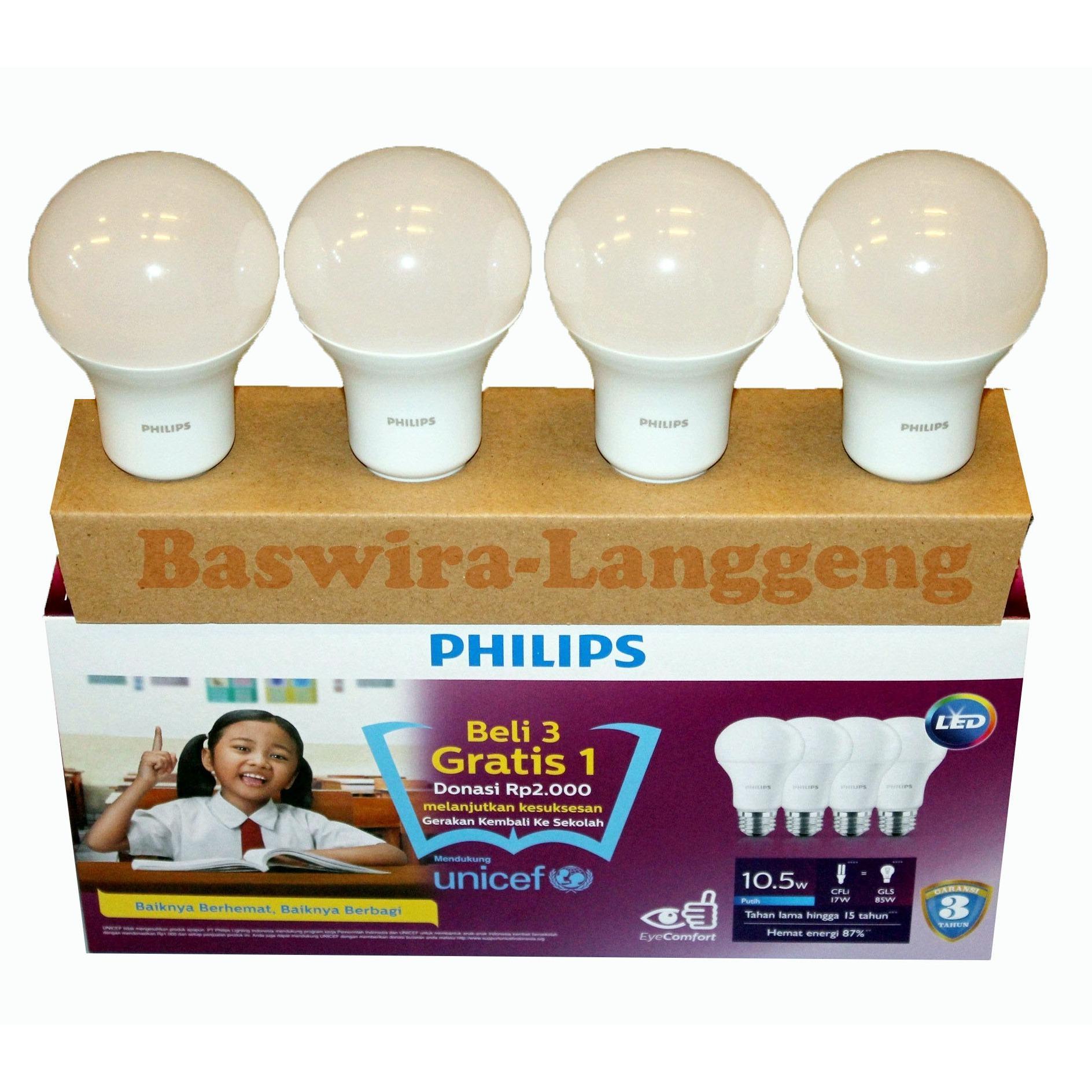 PHILIPS Led Bulb 10,5 Watt 10.5W UNICEF Paket Beli 3 Gratis 1 Putih
