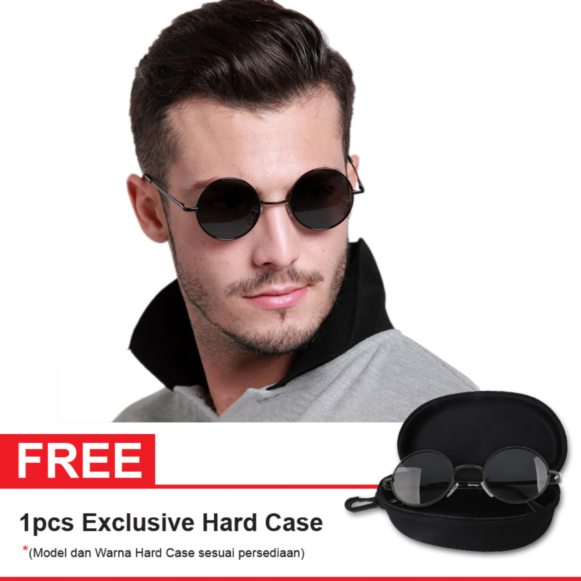 Polarized Sunglasses UV 400 HD Night 002 810 ROUND Free Exclusive Hard Case  - Kacamata Pria 3356fbe7a7