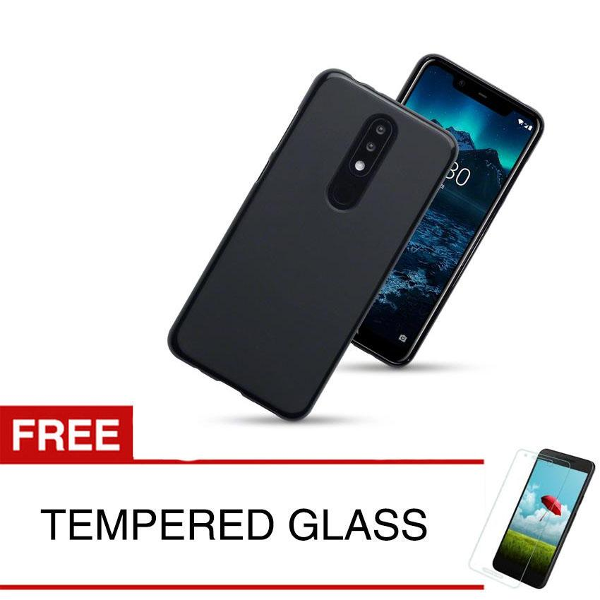 Case for Nokia 5.1 Plus / Nokia X5 - Slim Soft Case - Hitam Solid + Gratis Tempered Glass