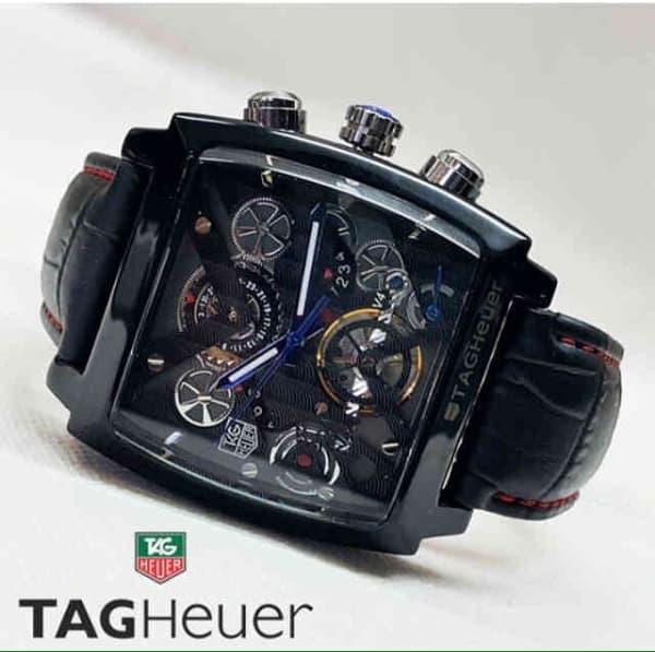 Promo!! Jam Tangan Pria Tagheuer Monaco V4 Leather Full Black - ready stock