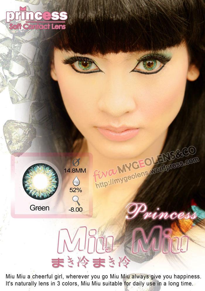 Promo Acessoris Warna Mata  Softlens Princess Miu-Miu Green Hijau