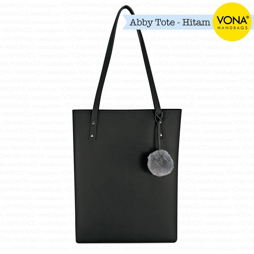 VONA Bags - Abby [Hitam] - Tas Tote Bahu Pompom Bulu Shoulder Bag Wanita Pom pom Sekolah Kerja Handbag Gendong Remaja Cewek Tali Zipper Murah Korean Style Fashion Bali Kulit Imitasi Sintetis PU Leather Best Seller New Arrival Terbaru Branded Asli Original
