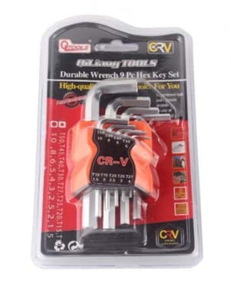 Sien Collection Kunci L Isi 9 pcs CRV / Hex Key Wrench Set Travel mobil motor / Alat Perakit furniture / aksesoris engsel pintu