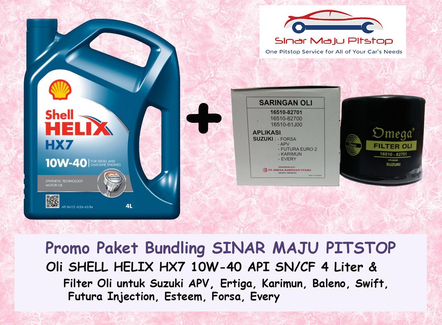 Paket Bundling Oli Mobil SHELL HELIX HX7 10W-40 API SN 4 LITER SEGEL HOLOGRAM ORIGINAL & Filter Oli SUZUKI FUTURA INJECTION