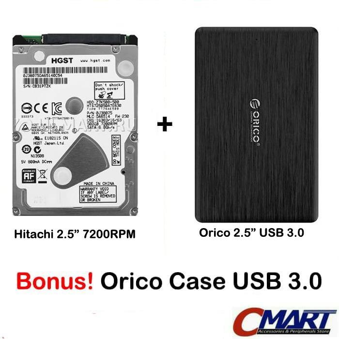 Hitachi HGST Laptop 500GB 7200RPM Notebook hardisk & Orico External
