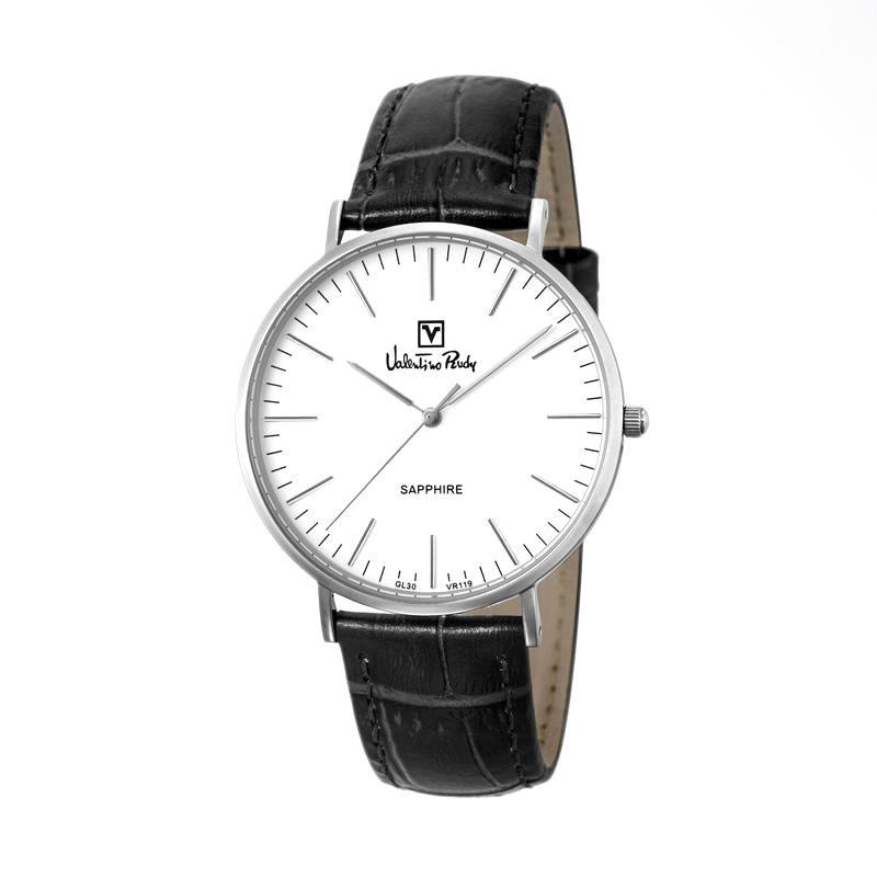 Valentino Rudy - Jam Tangan Pria - Silver-Putih - Strap Hitam - VR119-1312
