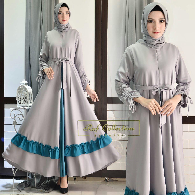 Nuriel Shop – Fashion Wanita - Gamis Muslimah – Gamis Murah – Gamis Kekinian – Gamis Sabyan – Tangan Serut –Tali Pinggang -  Abu