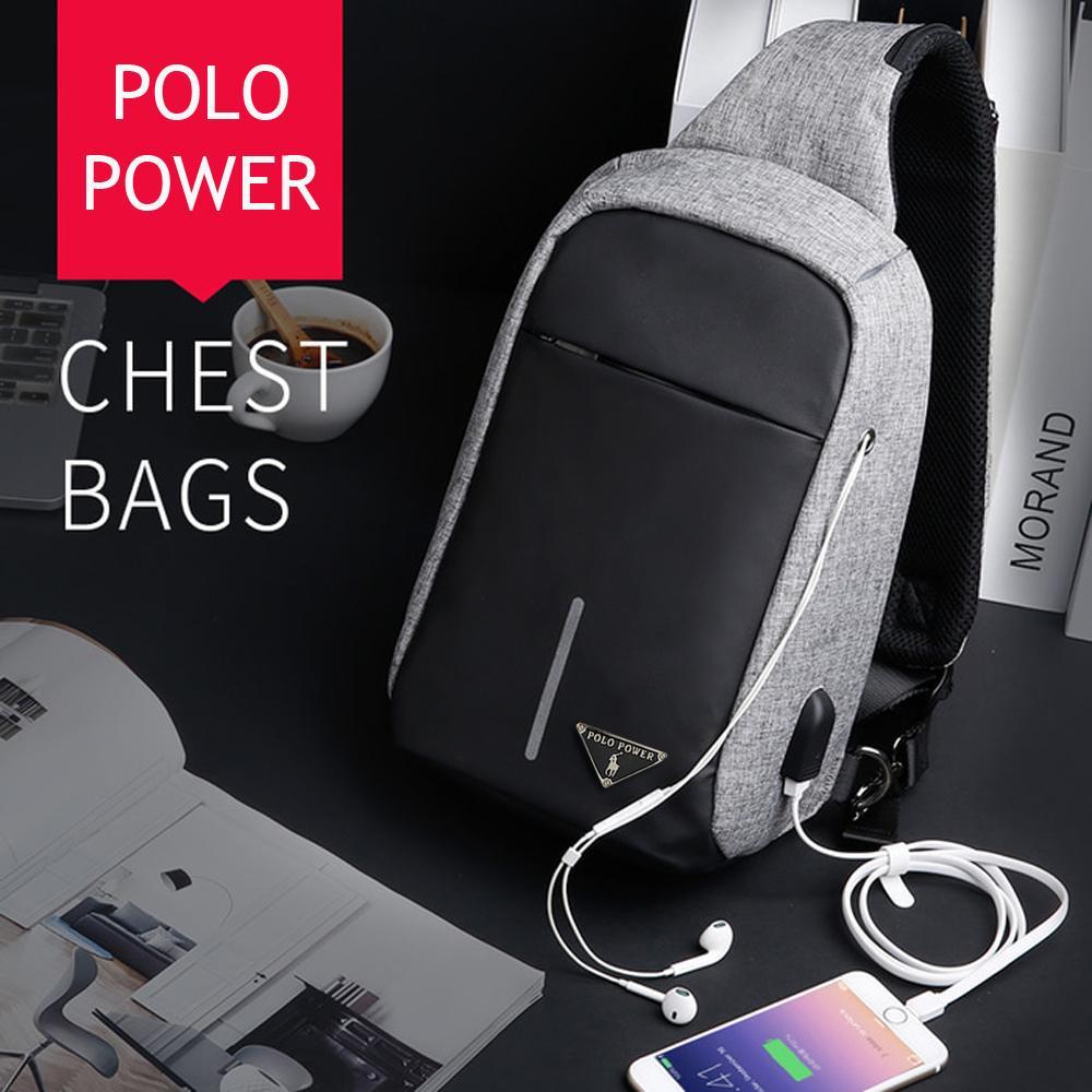 Slingbag Polo Power P0746 USB Anti Theft Crossbody Bag Tas Selempang Pria Tas Selempang Wanita Tas Gadget Tas USB Tas Anti Maling Original Import + USB Charger