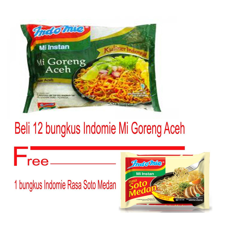 BORONG DONK - Indomie Goreng Aceh 12 bungkus Gratis 1 Bungkus Indomie Soto Medan / Mi Instan / Bisa COD