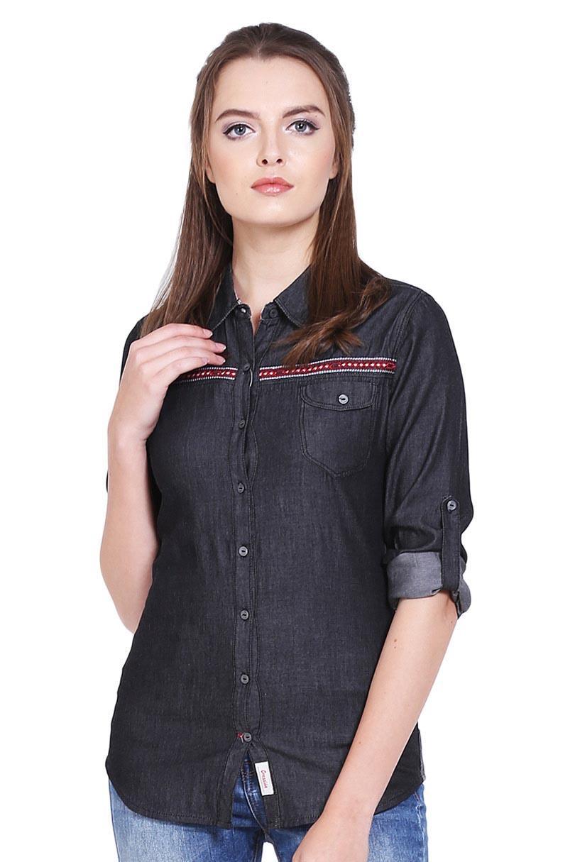 Cressida Pakaian Blouse dan Kemeja Wanita Ladies Basic Shirt Black