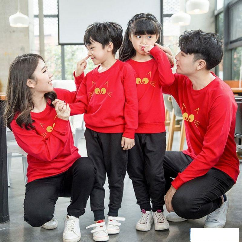 Thefashionstory - Sweater Keluarga I T-Shirt Family 2 Anak Miaw_miaw I Ayah + Bunda + 2 Anak I By Fashion Story.