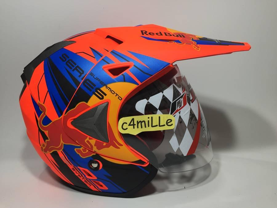 HELM JPR RED BULL ORANGE DOFF DOUBLE VISOR SUPERMOTO SEMI CROSS TRAIL