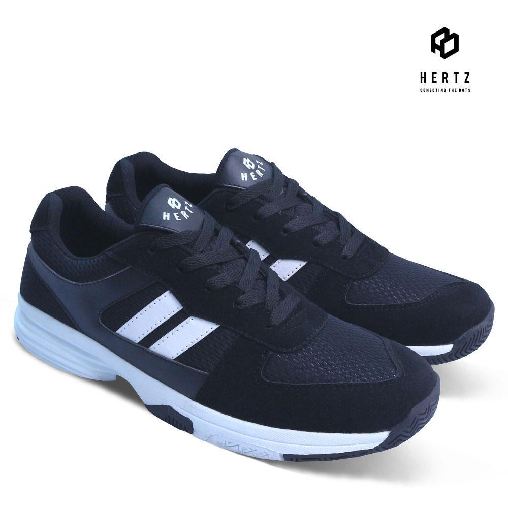 Sepatu Sneakers Pria H 2066 Sepatu Kets dan Kasual Cowok Original Hertz Model Terbaru Harga Murah Keren Warna Hitam untuk Olahraga, lari, Jogging, Sekolah, Kuliah, Jalan, Santai