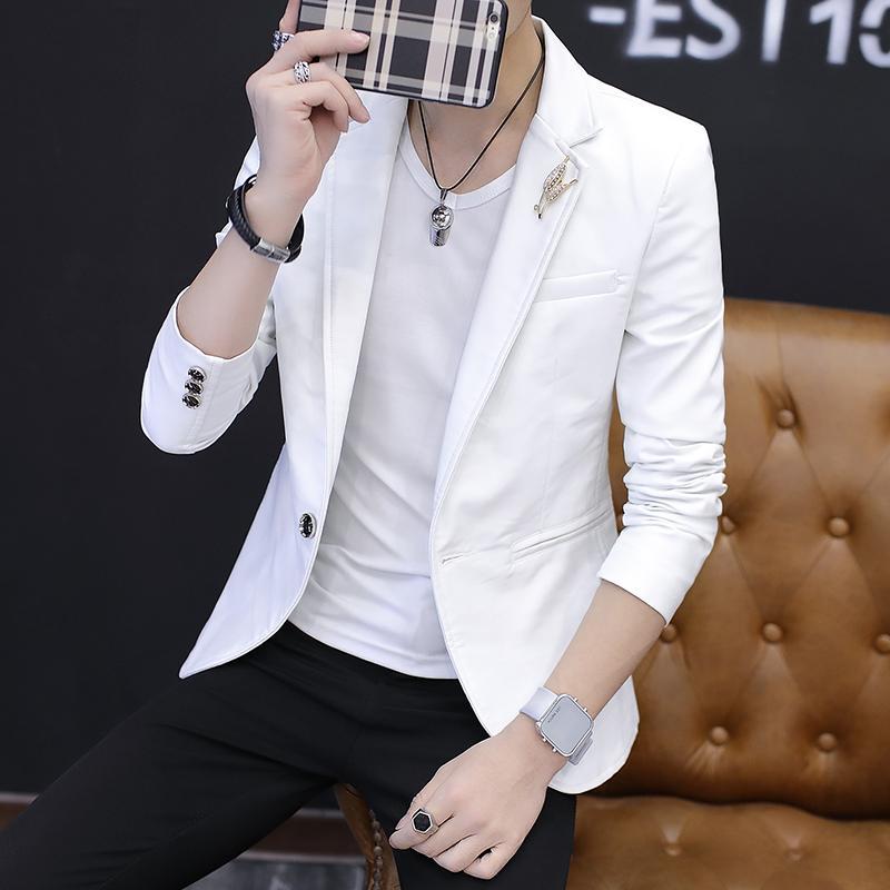 2019 model baru Setelan jas kecil pria model tipis Tampan baju kulit  Setelan Jas anak muda 09c7005a9e