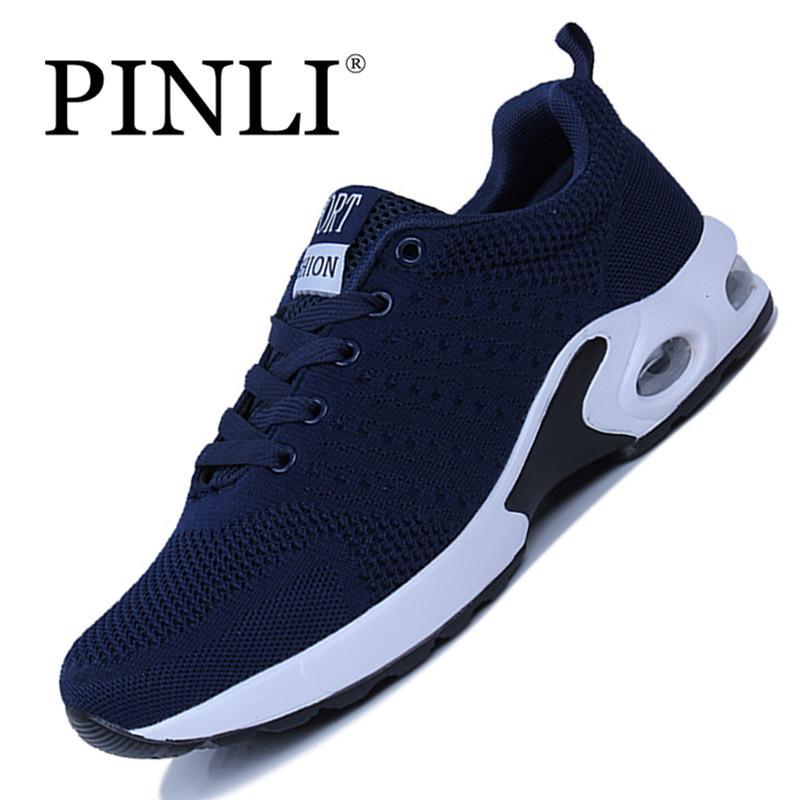 PINLI Sepatu Baru Fly-Woven Bernapas Sepatu Kasual Nyaman Rendah Sepatu Olahraga Sepatu Pria