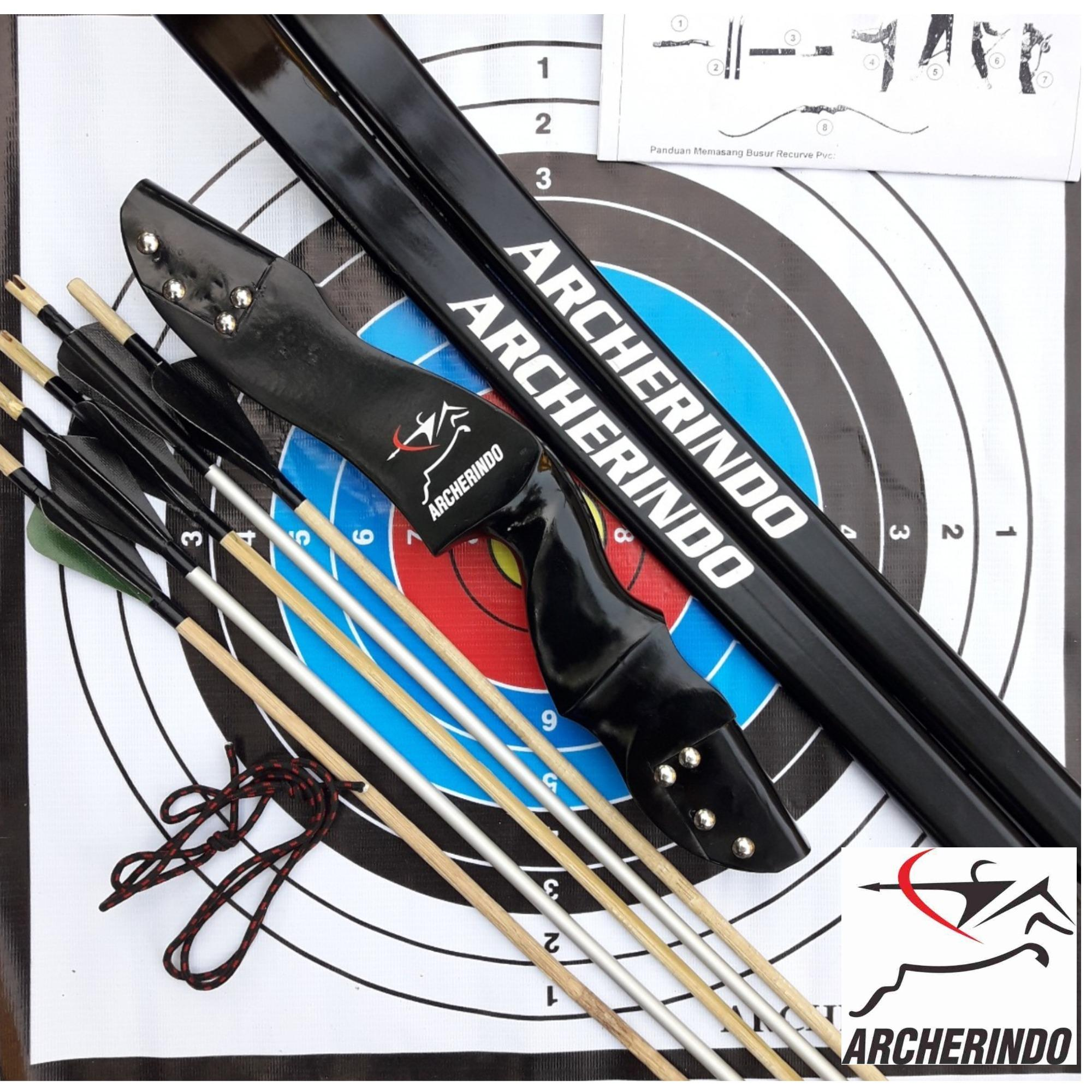Archerindo Wooden Recurve Bow R40 Extra 5 Anak Panah Point Besi By Archerindo.