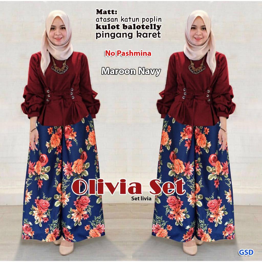 Busana Muslim/Baju Setelan Muslim/Setelan Olivia/Set Livia
