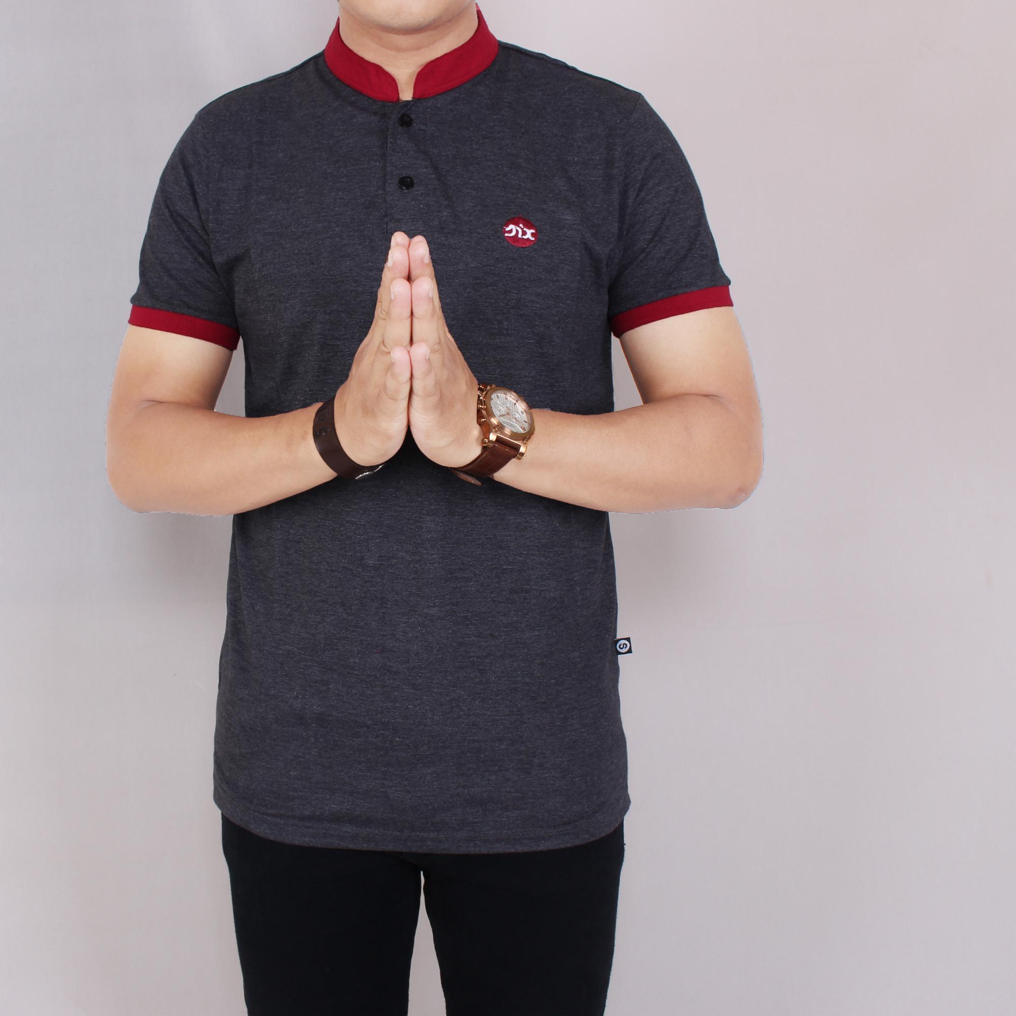 Zoeystore1 5748 Kaos Polo Six Pria Lengan Pendek Baju Kaos Polo Sanghai Cowok Formal Red Mix Gray