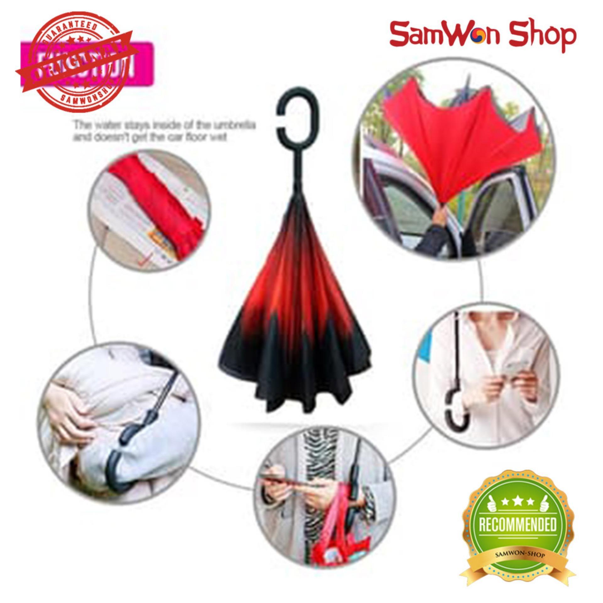 Payung Pria Termurah Terlengkap Lipat 3  Polos Warna Silver Dalam Terbalik Modern Gagang C Reverse Umbrella Kazbrella Harga Promo