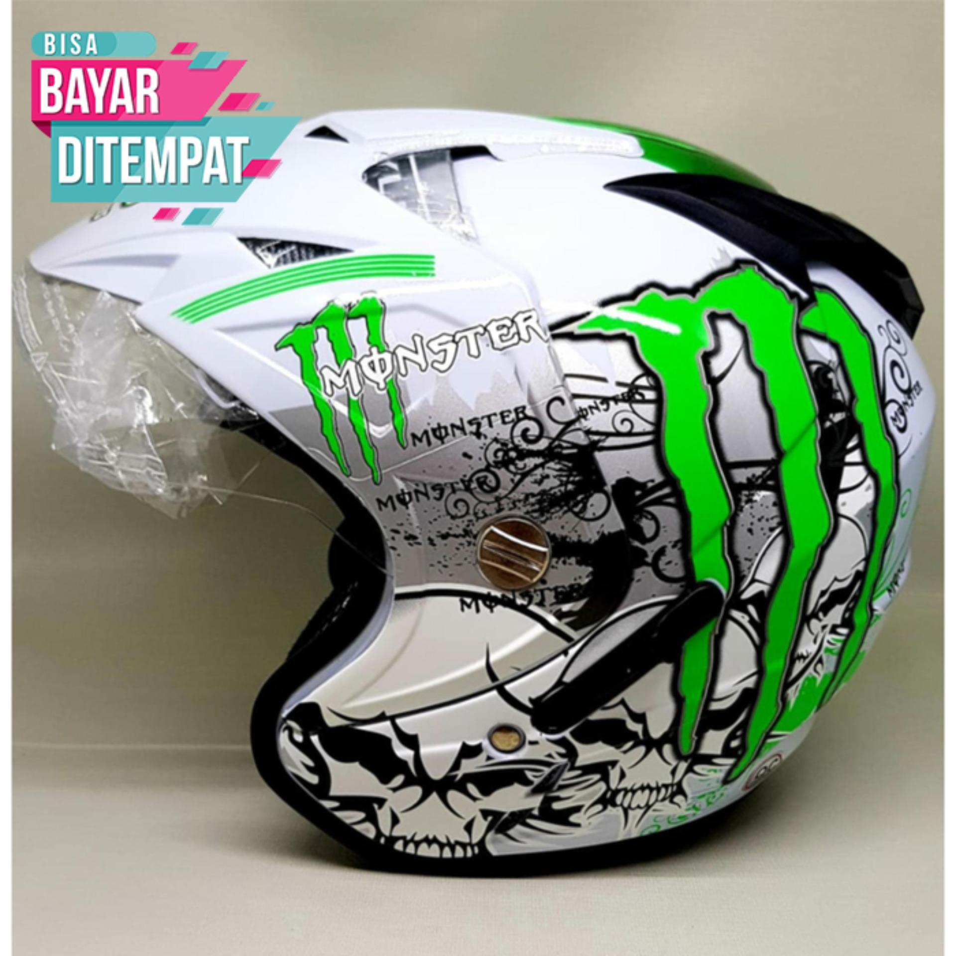 [Promo Best Seller] Helmet Double Visor TGP Motif Monster Putih Kualitas Setara Helm KYT INK GM WTO MSR BMC NHK
