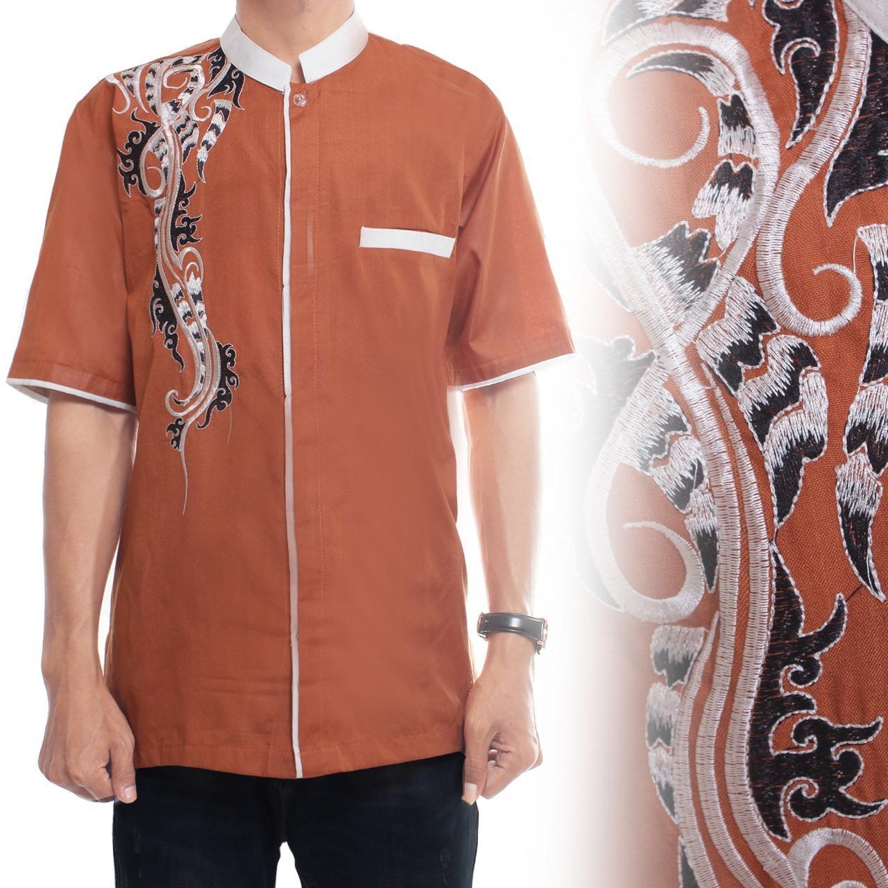 Glow fashion Baju koko atasan kemeja batik pria jumbo shirt Richi