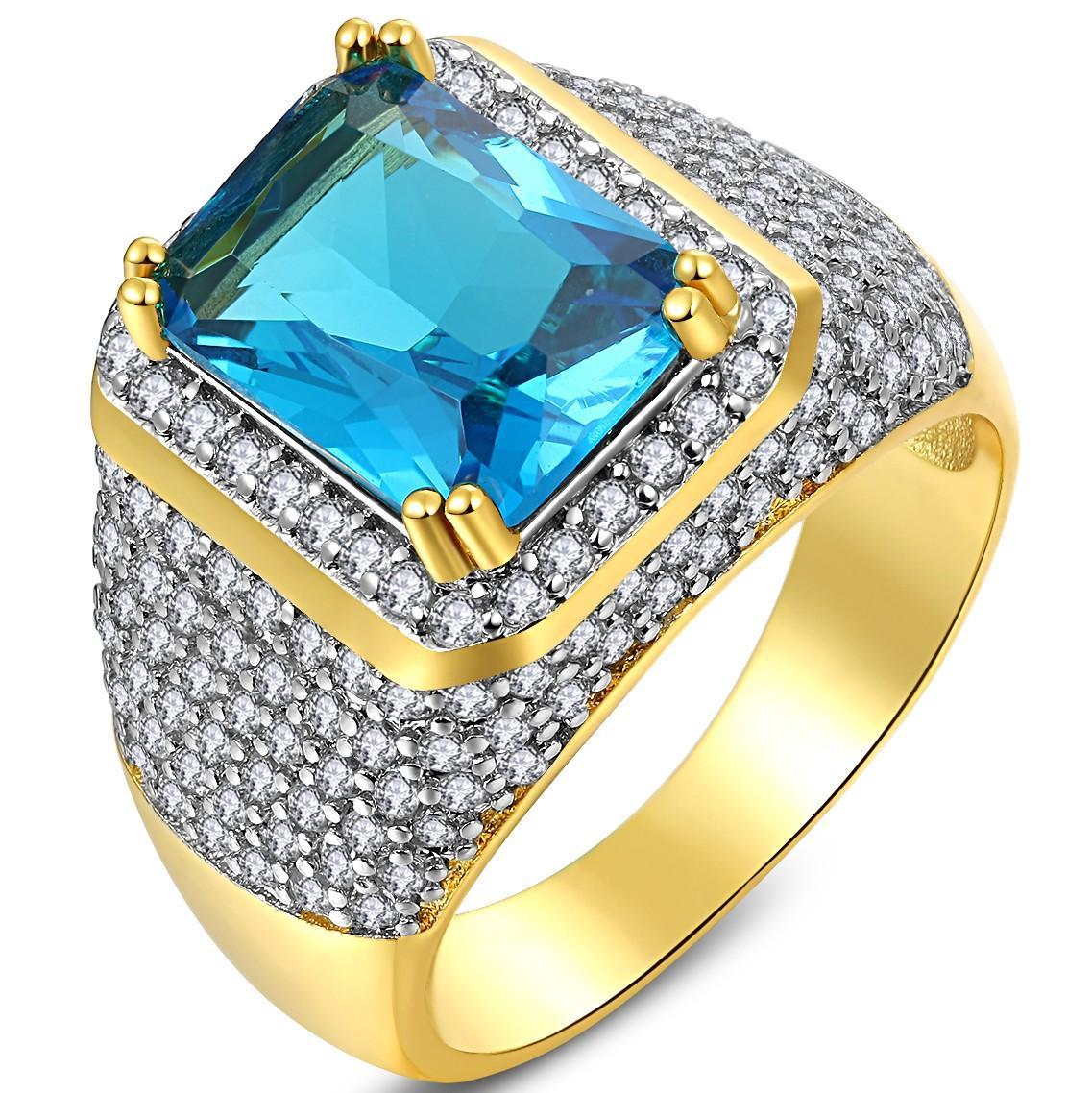 AAA Modis Populer Pria Pria 18 K Emas Diisi Pertunangan Shinng Cincin With 260 Pcs Putih Kecil Zirkon Batu Di sekitar Ukuran 8-15-Intl