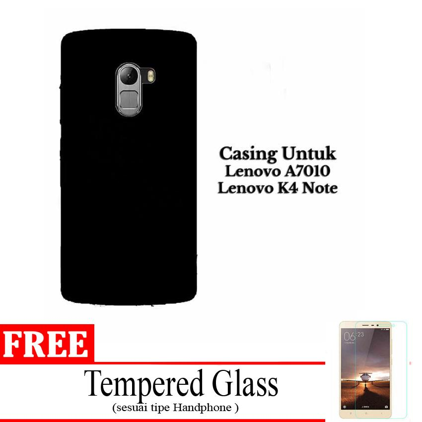 Case Black Matte Softcase Untuk Lenovo K4 NOTE / A7010 - Hitam Doff + Free Tempered Glass
