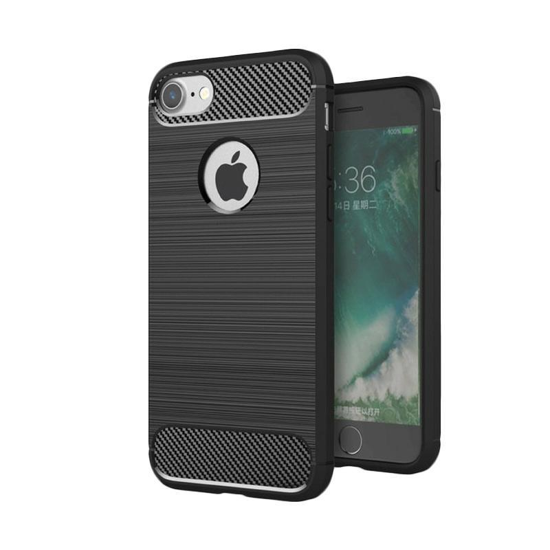 Case for Iphone 5s Ipaky Softcase Premium Texture Carbon Fiber CF TPU Silikon - Hitam