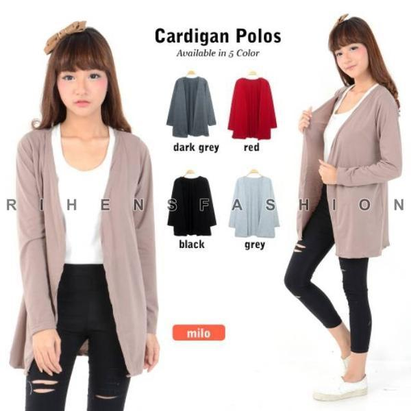 Hanya Hari Ini Rihens Cardigan XL Spandek RH16 Baju Atasan Kardigan Polos Wanita Lengan Panjang