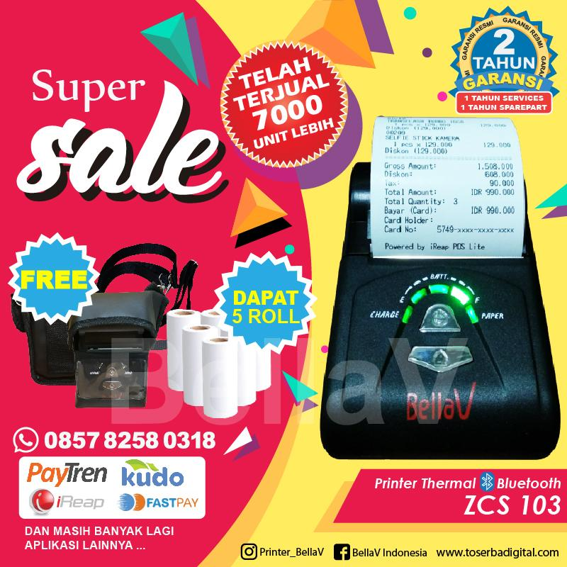 PRINTER BLUETOOTH THERMAL BELLAV ZCS103 Support Paytren FastPay Promo Oktober Free Kertas 5 Roll & Pouch