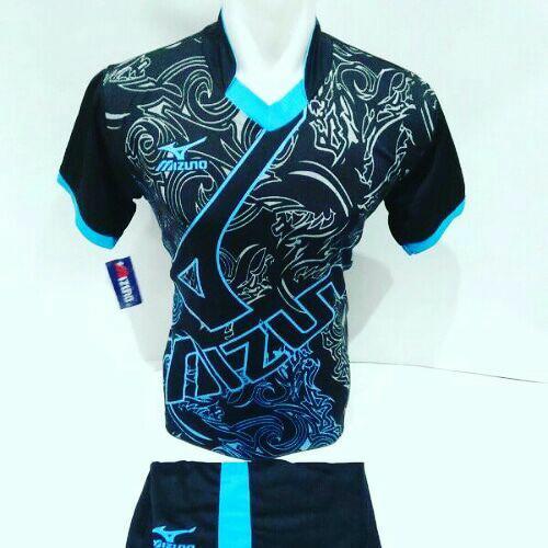 [TERLARIS MZ 16] Baju Volly Jersey Olahraga Futsal Kaos Bola Setelan Voli Mizuno Hitam Biru