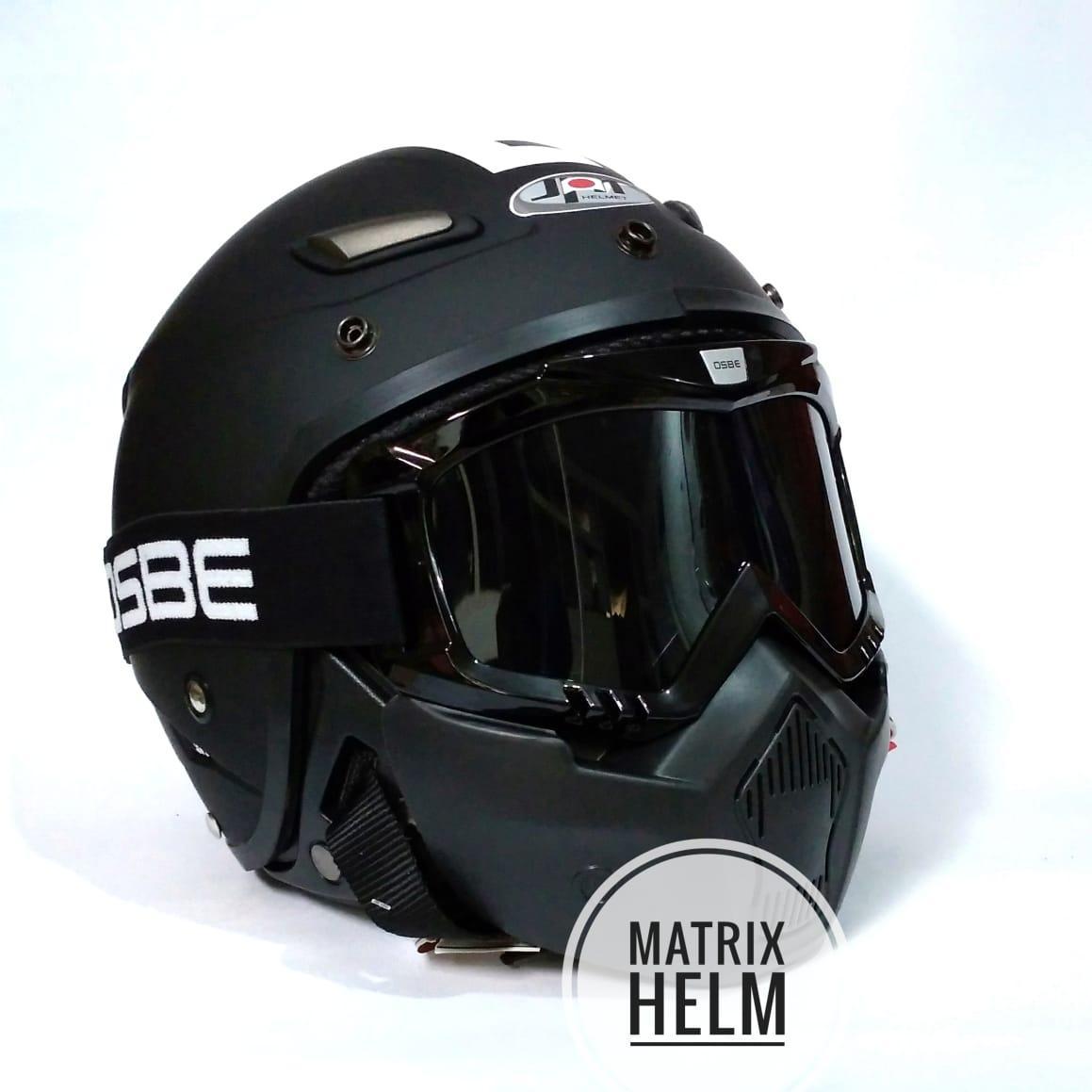 Helm Berkendara Motor Semi Cross Half Face Double Visor Hitam Doff Polos Matrixhelm Retro Dewasa Jpn Momo Dof Plus Goggle Mask Osbe