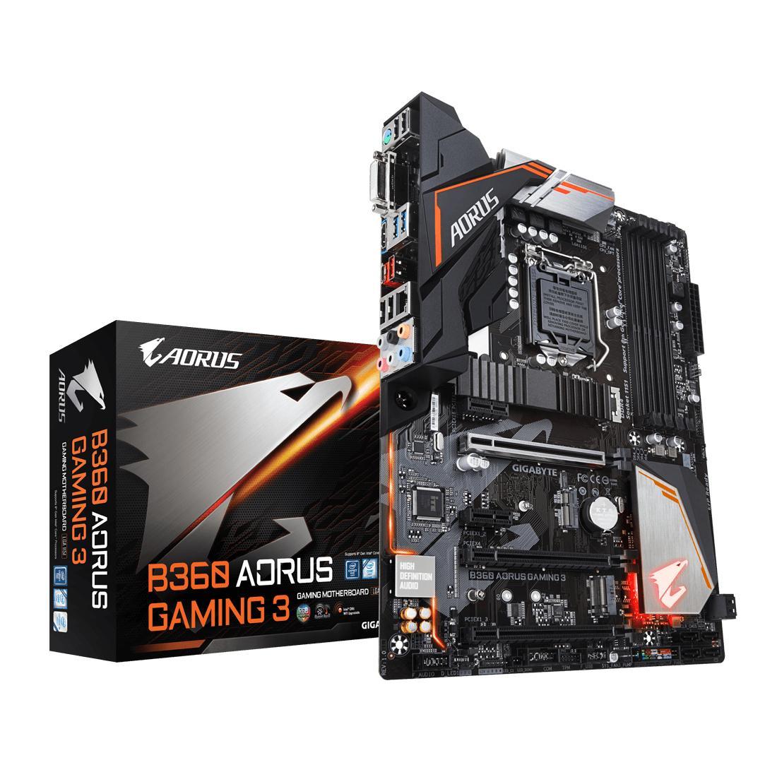Gigabyte Motherboard B360 Aorus Gaming 3 - Socket 1151 DDR4 - Hitam