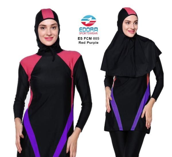 Baju Renang Muslimah EDORA ES FCM 005 RED PURPLE  Baju Renang Syar'i