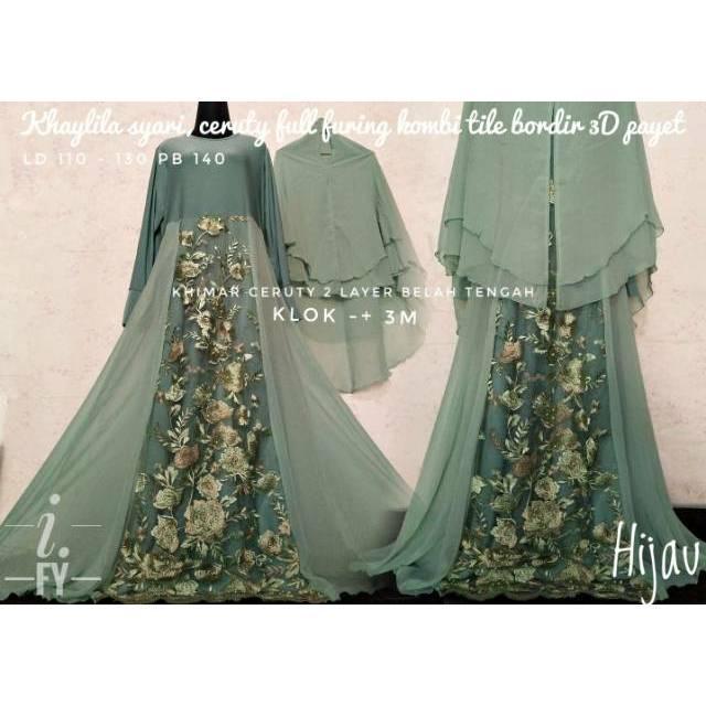 Realpict original set gamis syari baju pesta muslim brokat bordir cantik mewah khimar ceruty 2 layer (hijau  petantem)