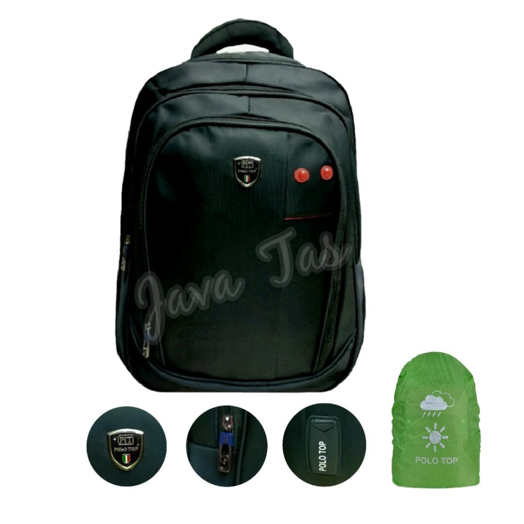 Polo Top Tas Ransel Backpack Java Platinum Gear 18 Inchi Expandable  Laptop / Kerja / Kuliah Black Mica + Weather Shield