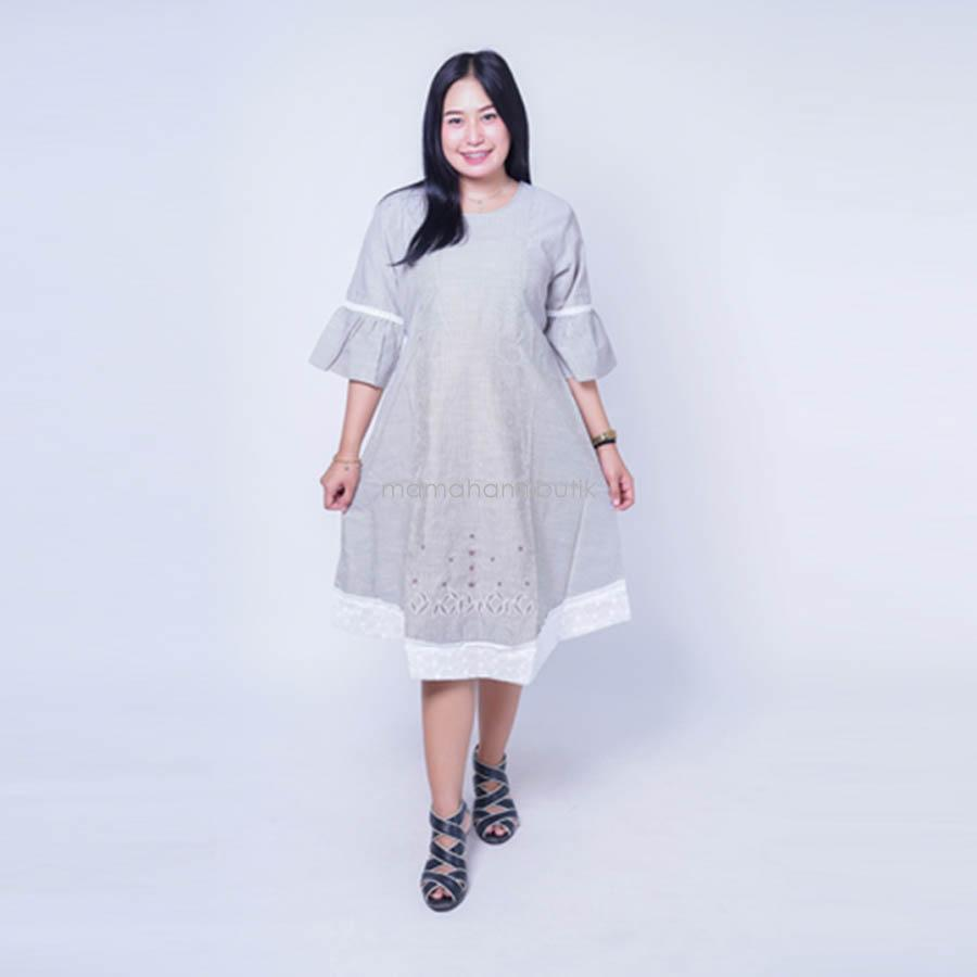 Ning Ayu Baju Hamil Dress Salur Renda VE cantik Modis - DRO 908 / Dress Hamil Pesta / Dress Hamil Lucu / Dress Hamil Kantor / Dress Hamil Muslim / Dress Hamil Batik / Dress Hamil Modis / Dress Hamil Korea / Dress Hamil Online / Dress Hamil cantik