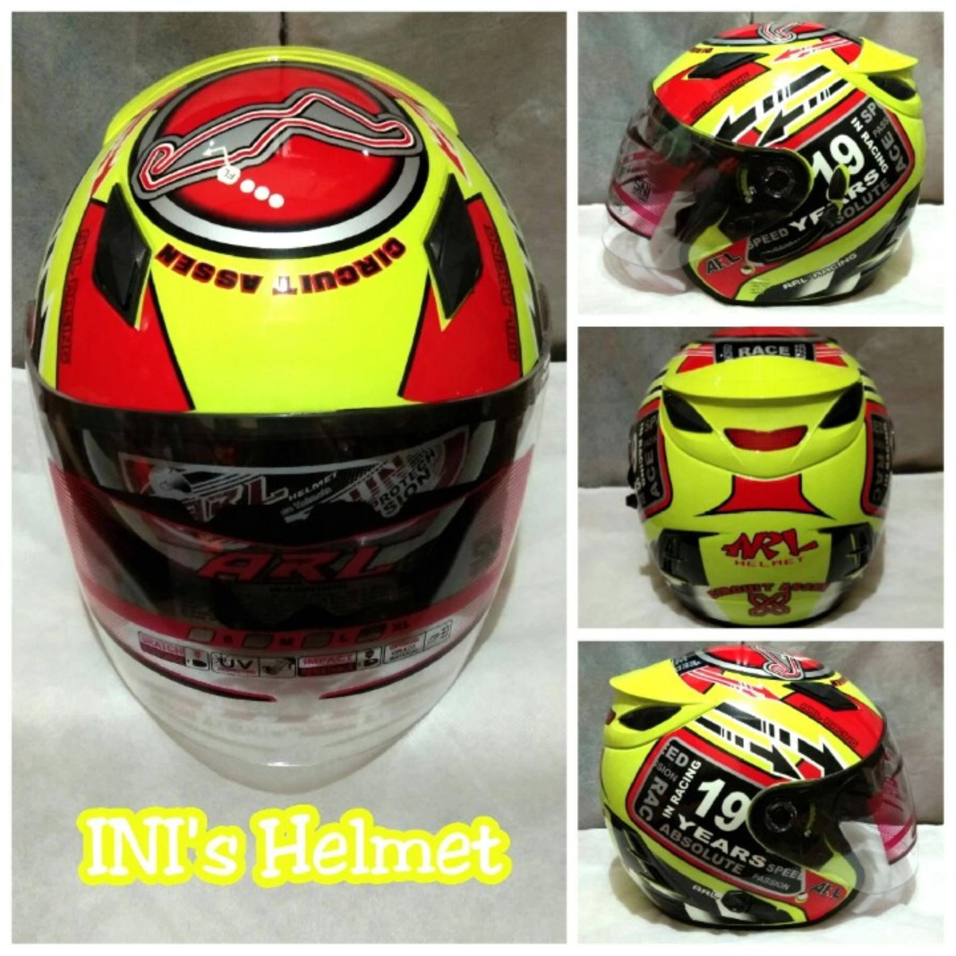 Helm SNI half face double visor ada slot anti maling dan busa bisa bongkar pasang