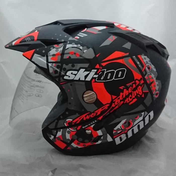 Helm Double Visor (2 kaca) SKI Doo Blac Orange Doff