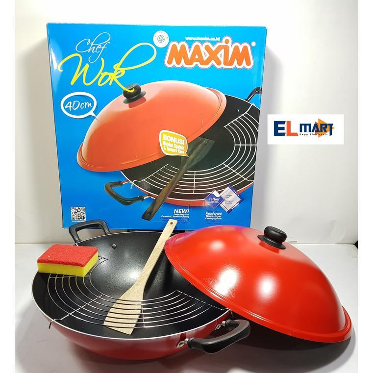 ELMART Maxim wajan teflon chef wok 40cm/penggorengan maxim/wajan maxim