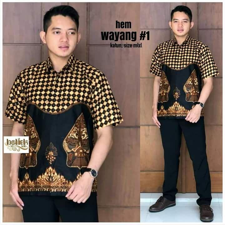king's hem batik pendek wayang hitam