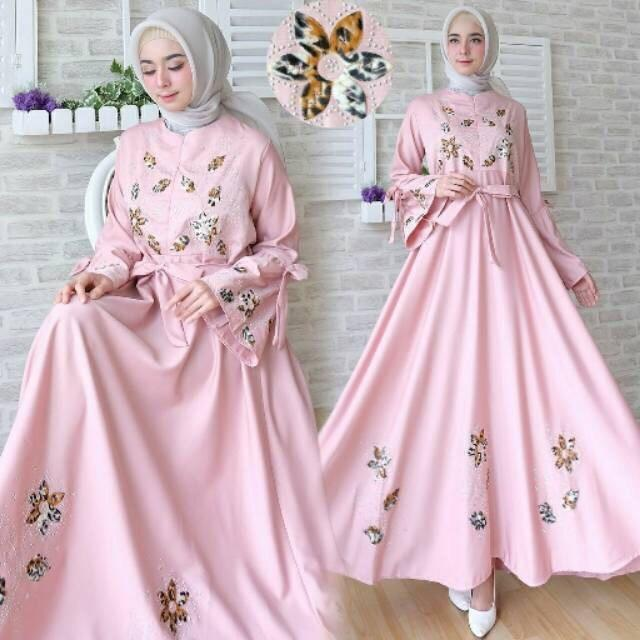 GAMIS BUSUI MURAH / FASHION MUSLIM / MAXI DRESS BUSUI AULIA WARNA SALEM ( TANPA PASMINA
