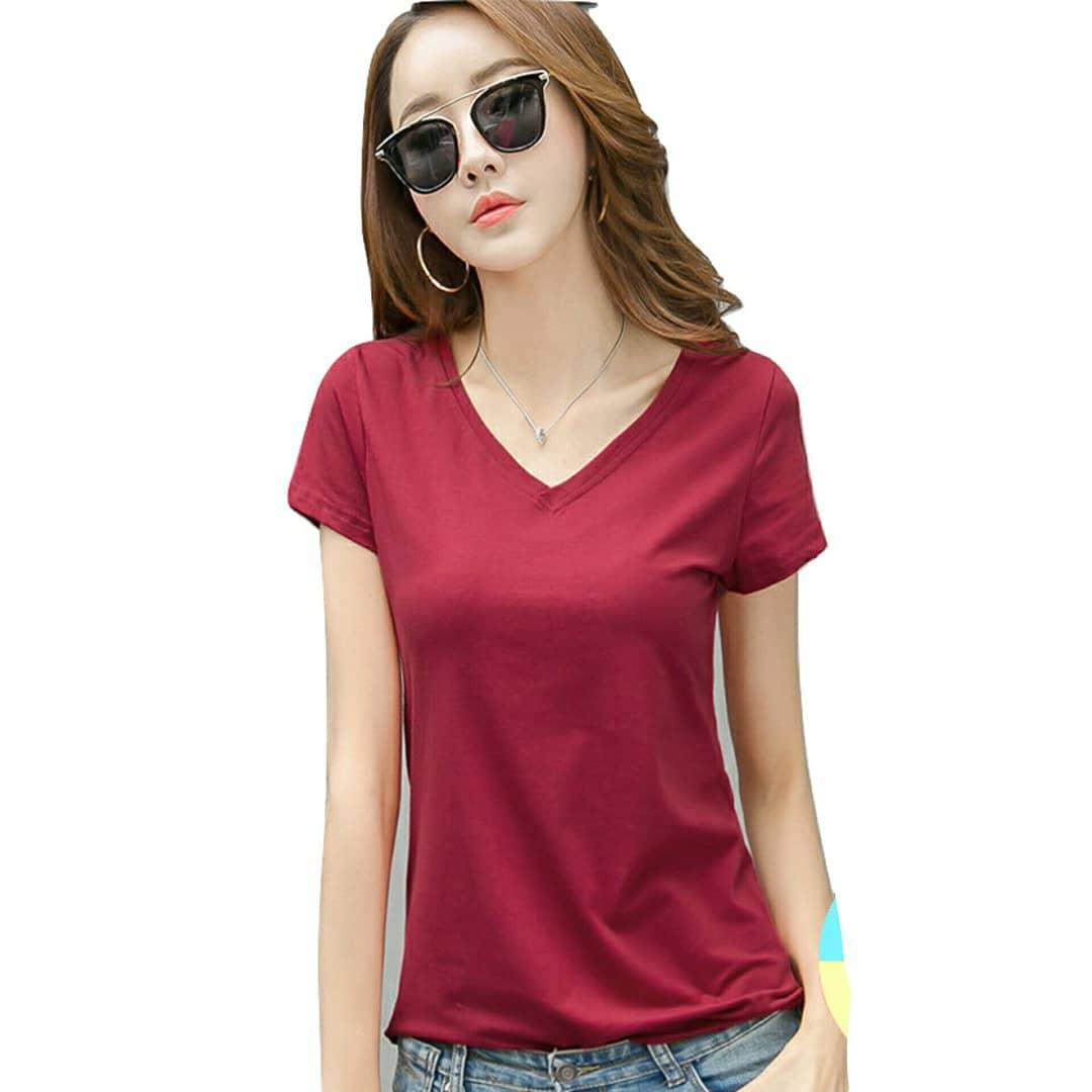 Bratajaya T-shirt V neck Polos / Kaos polos / kaos wanita