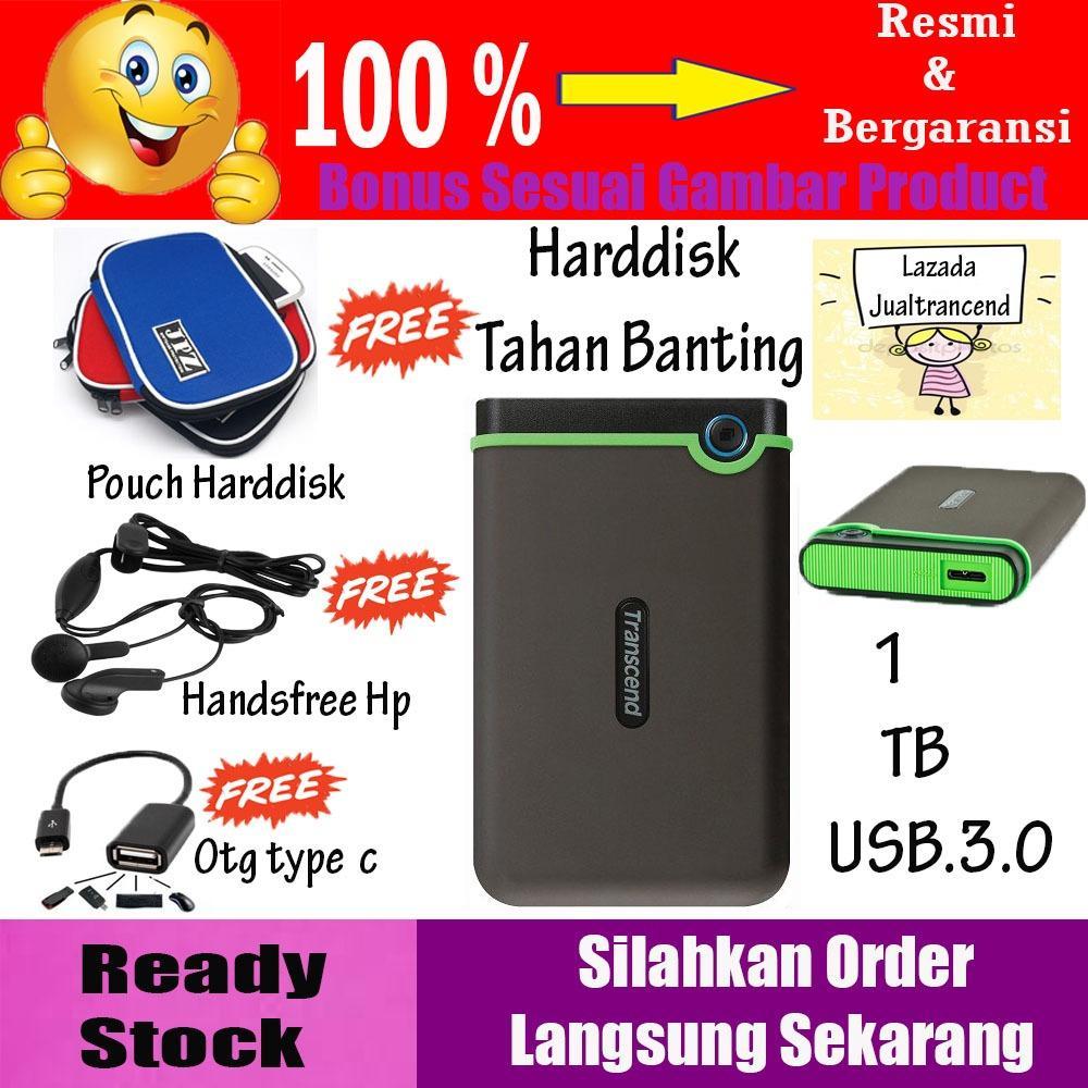 Transcend StoreJet 25M3 1TB - HDD / HD / Hardisk External Antishock - Harddisk Eksternal Tahan Banting + Gratis Pouch Hdd + Earphone + Otg Type C