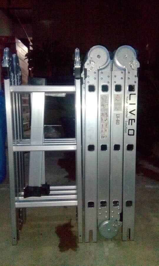 Promo  Tangga Aluminium Multi purpose 3.6 Meter Merk Liveo Tangga Lipat  Original