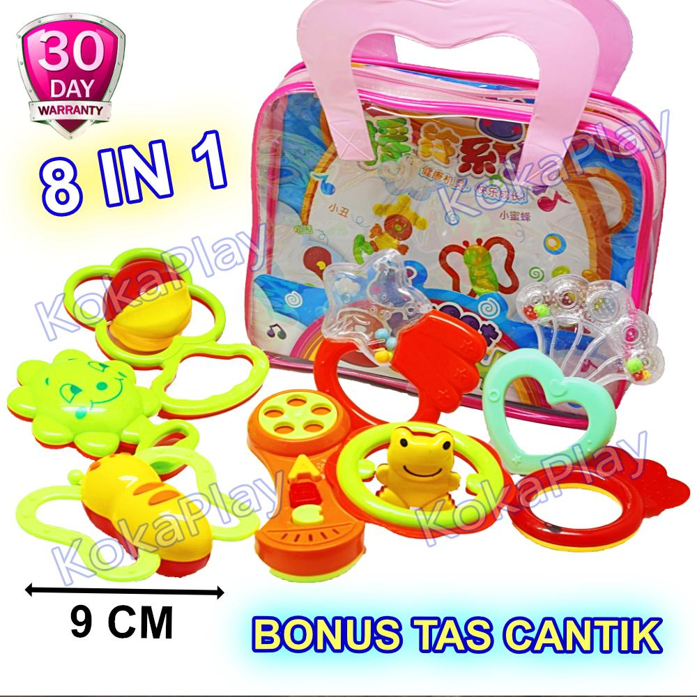KokaPlay Baby Rattle 8 in 1 Play Set Mainan Anak Bayi Kerincingan Set Krecekan Pencetan Bayi Squishy + Free Tas